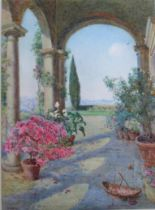 EDITH HELENA ADIE (1865-1947) VILLA CAPPONI, FLORENCE Signed, watercolour 36 x 26cm. Provenance: