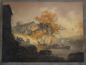 WILLIAM PAYNE (1760-1830) ON THE ST GERMAIN RIVER, CORNWALL [sic] Signed, watercolour 12 x 16.5cm.