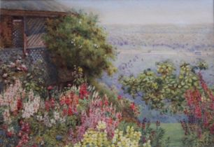 HELENA EDITH ADIE (1865-1947) THE VIEW FROM THE GARDEN Signed,, watercolour 17 x 25cm. ++ Slight
