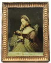 AFTER MARY BENWELL (1739-1800) THE STUDIOUS FAIR Glass print (coloured mezzotint) by C. Spooner,