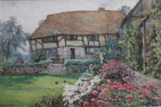 EDITH HELENA ADIE (1865-1947) THE OLD COTTAGE GARDEN Signed, watercolour 16.5 x 26cm ++ Some pale