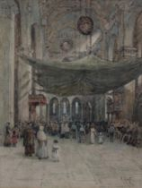 ROBERT CHARLES GOFF (1837-1922) INTERIOR OF THE CATHEDRAL OF S. MARIA DEL FIORE, FLORENCE Signed,