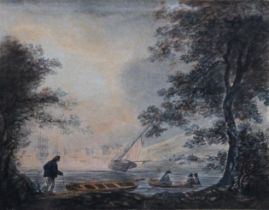 WILLIAM PAYNE (1760-1830) VIEW OF STONEHOUSE, PLYMOUTH Signed, watercolour 12.5 x 16.5cm.