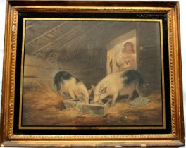 AFTER GEORGE MORLAND (1763-1804) GIRL AND PIGS; THE FLEECY CHARGE Two, a coloured mezzotint and a