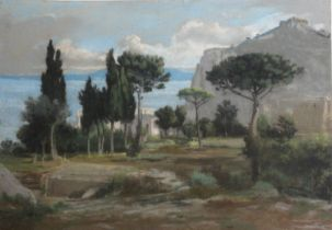 FELIX HIPPOLYTE LANOUE (1812-1872) VILLA IL FORTINO, CAPRI Signed, indistinctly dated, inscribed