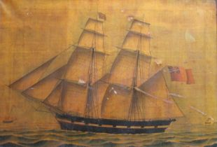BRITISH SCHOOL, 19th CENTURY THE BARQUE `HARRIET` OF DUNDEE Watercolour with pen and black ink on