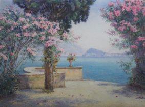 EDITH HELENA ADIE (1865-1947) BELLAGIO FROM THE GARDEN OF THE GRAND HOTEL, MENAGGIO Signed,