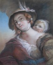 ATTRIBUTED TO JOHN RUSSELL, RA (1745-1806) PEASANT GIRL WITH HER BABY Pastels on paper, backed