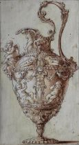 ITALIAN SCHOOL, 18th CENTURY DESIGN FOR A EWER Pen and brown ink with brown wash, heightened with