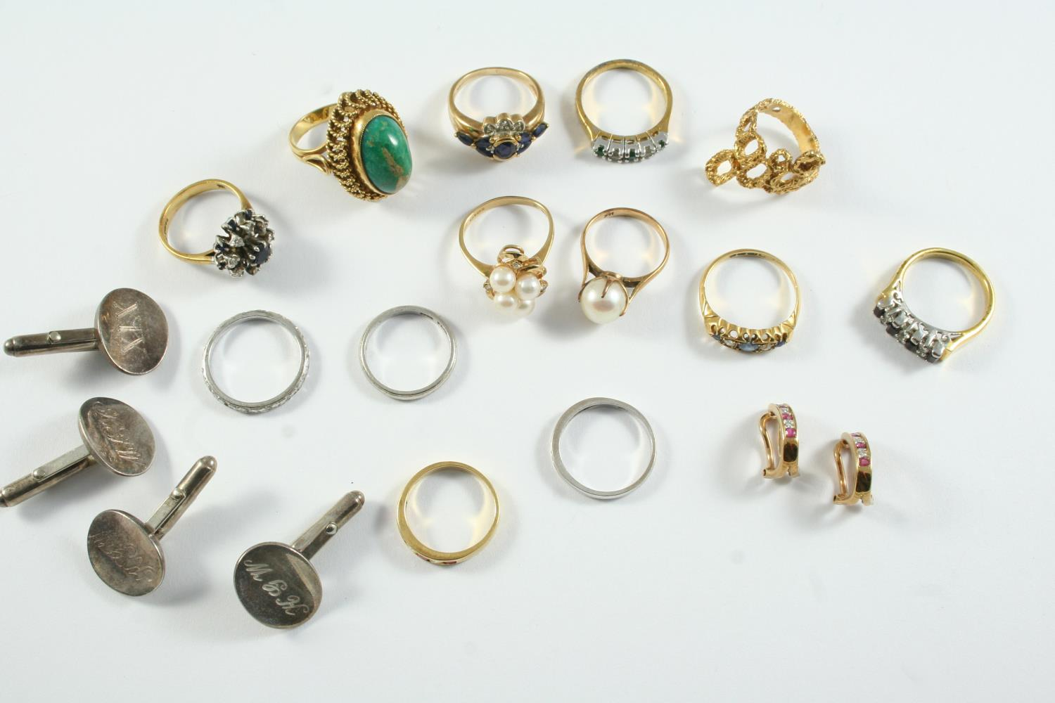 A QUANTITY OF JEWELLERY including a ruby and diamond half hoop ring, set in 18ct yellow gold, a pair