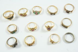 THIRTEEN ASSORTED GOLD AND GEM SET RINGS total weight 26.2 grams
