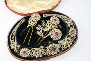 A VICTORIAN CASED SET OF SEED PEARL AND AMETHYST JEWELLERY comprising a necklace, 38cm long, a