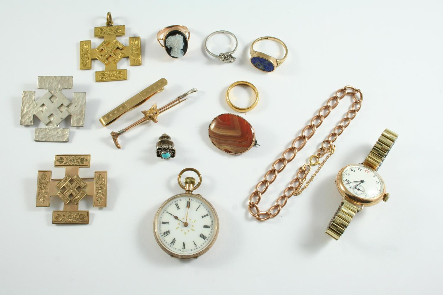 A QUANTITY OF JEWELLERY including a 22ct gold wedding band, 6.4 grams, a 14ct gold open faced pocket