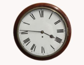 A 19th CENTURY ENGLISH DIAL CLOCK. With a 30cm white enamelled dial and single train chain fusee