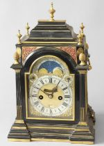 A FINE GEORGE II EBONY CASED BRACKET CLOCK BY CLAUDIUS DU CHESNE. A late 17th or early 18th