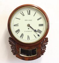 A MAHOGANY CASED DROP DIAL WALL CLOCK BY BROOKE OF LONDON. With a 30cm, white enamelled dial with