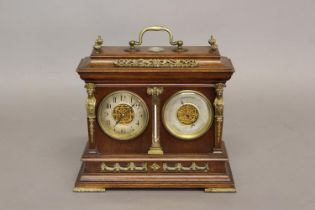 A PRESENTATION CLOCK/BAROMETER BY E. SERMON, TORQUAY. The walnut case with carrying handle above a