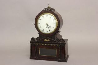 A REGENCY BRASS INLAID MAHOGANY BRACKET CLOCK. With a circular convex white enamelled dial with