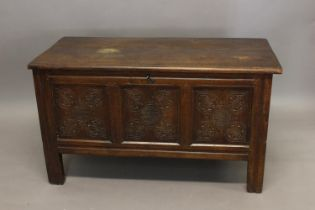 AN 18TH CENTURY WEST COUNTRY COFFER. With a broad rectangular top with moulded border above a