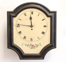 A 19TH CENTURY CONTINENTAL WALL CLOCK. With a cream dial with painted chapter ring with Roman