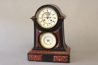 A FINE VICTORIAN SLATE AND MARBLE MANTEL CLOCK AND BAROMETER. The upper clock dial with an outer