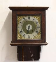 AN 18TH CENTURY WALL CLOCK BY ROBERT BOTLEY OF BLETCHINGLY. With a 20cm brass dial with silvered