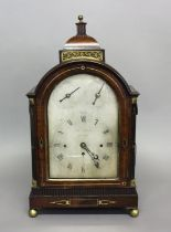 A FINE REGENCY MAHOGANY MUSICAL BRACKET CLOCK BY THOMAS FARR OF BRISTOL. With a silvered dial with