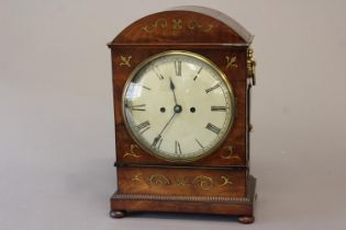 A REGENCY BRASS INLAID MAHOGANY BRACKET CLOCK. With a circular convex cream painted dial with
