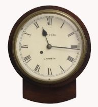 A VICTORIAN WALL CLOCK WITH A PAINTED DIAL SIGNED J. MYERS, LAMBETH Fusee movement in rosewood case,