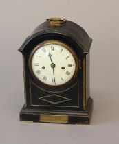 A LATE GEORGE III EBONY CASE BRACKET CLOCK. With a circular convex white enamelled dial with Roman