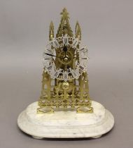 A VICTORIAN STYLE BRASS SKELETON CLOCK. With a fretted chapter ring with Roman numerals, with an