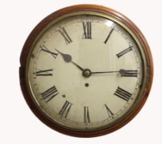 A VICTORIAN WALL CLOCK. with painted dial and four pillar fusee movement in mahogany case, dial 30