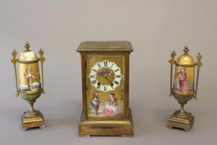 A 19th CENTURY FRENCH PAINTED AND GILT METAL CLOCK GARNITURE. The tall rectangular clock with