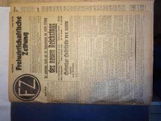 Lot Freiwirtschaftliche Zeitungen FZ, 9. Jahrgang 1932, Nr. 32-33, 36-37 gebunden. Organ der F.P.D.