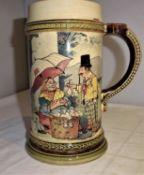 antiker Bierkrug Mettlach Nr. 941, ohne Deckel. Herstellung 1894, 1/2 Liter Krug. Guter Zustand.ant