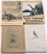 Lot Bücher zum Thema Jagd, dabei Jagd und Tierfang in Ostafrika, Blitz der Greif, Pori tupu, Aus F