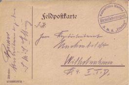 """Deutsches Reich, 1. WK, Feldpostkarte mit Briefstempel """"Kaiserliche Marine - S.M.S. Elbing"""". Gelauf"""