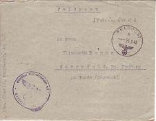 Drittes Reich 1942, Feldpostbrief aus Russland - Stalingrad? nach Harsefeld. Mit Inhalt.Third Reic