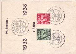 """Drittes Reich 1938, Anlassbeleg mit Mi. - Nr. 660/661 """"5 Jahre Machtergreifung"""". Mit Sonderstempel."""
