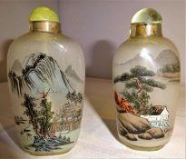 2 Glas - Snuffbottle´s China mit sehr feiner Hinterglas-Malerei. Höhe ca. 8,5 cm2 glass - Snuffbo