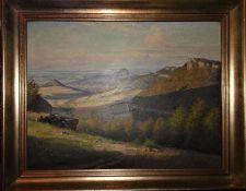 J. Planckenhorn (1894-1977), Ölgemälde auf Platte, Reutlinger Alb. Maße: Höhe ca. 31 cm, Breite