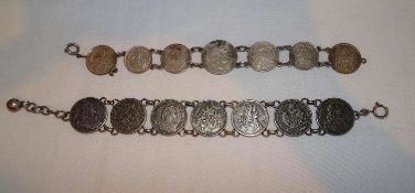 2 alte Münzarmbänder, Länge ca. 18-22 cm2 old coin bracelets, length approx. 18-22 cm