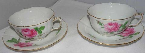 Meissen, 2 Teetassen mit Unterteller, Meissner Rote Rose.Meissen, 2 tea cups and saucers, Meissen R