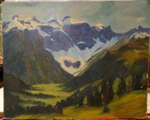 """Mulley ??, Ölgemälde auf Platte """"Hochgebirge"""", unten rechts Signatur Mulley, Höhe ca. 44cm, Brei"""