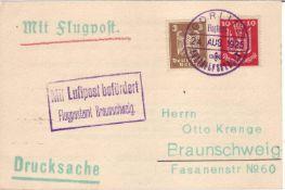 Luftpost - Beleg von Görlitz nach Braunschweig vom 24. Aug. 1925. Drucksache.Airmail - receipt fro