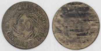 Weimarer Republik 1924, 50 Rentenpfennig, FEHLPRÄGUNG, Avers mit Nominal normale Prägung, Revers: