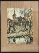 Drei - Farbendruck nach einem Aquarell von A. Reismüller. Motiv aus Heiligenstein. Hinter Glas ger