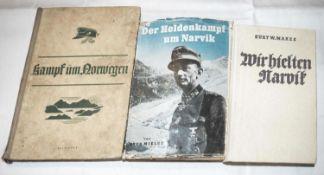 Drei Bücher 2. Weltkrieg: Norwegen und Narvik. Meist gute Erhaltung.Three books World War II: Norw