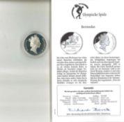 Olympische Spiele Bermudas, 1 Dollar, 925/1000 Silber.Springreiten. Mit Zertifikat.Olympic Games Be