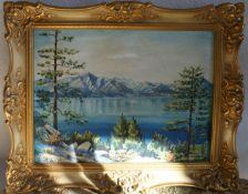 Ölgemälde auf Leinwand Lake Tahoe Californien, gemalt von Ernst Kraft in Wattenheim , in altem Go